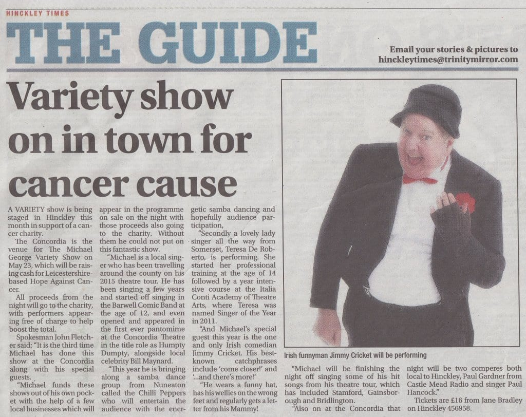 Hinckley Times article about Jimmy Cricket's show with Michael George at the Concordia Theatre