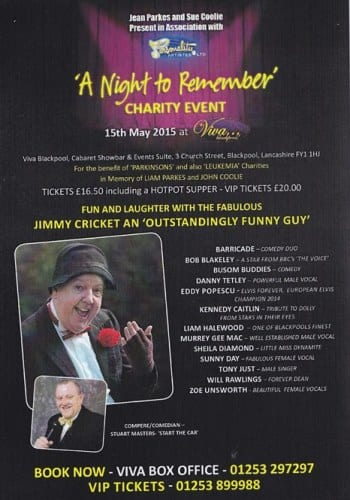 Jimmy Cricket is appearing in the charity gala, A Night to Remember, at the Viva venue in Blackpool