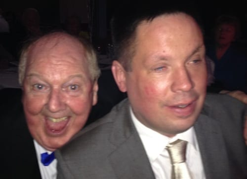 Jimmy Cricket and Graham Helm at the memorial event at Burnley Football Club
