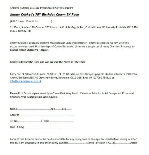 The form for Jimmy Cricket's 70th birthday fun run