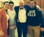 Jimmy Cricket with a family who went to see his show in Bridlington