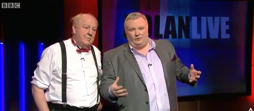 Jimmy Cricket and Stephen Nolan on BBC Northern Ireland's Nolan Live show