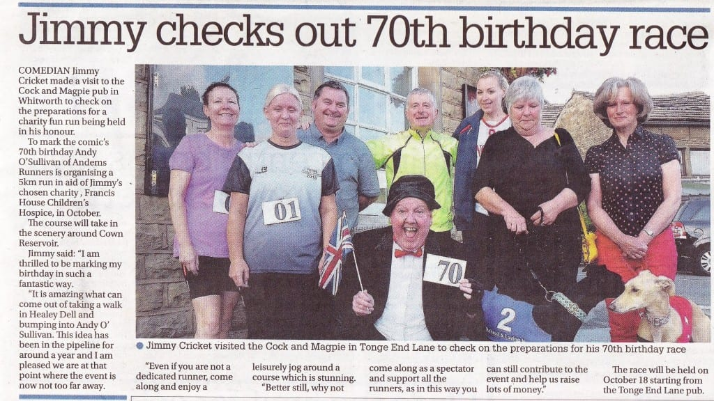 The Rochdale Observer reported on Jimmy Cricket's forthcoming fun run