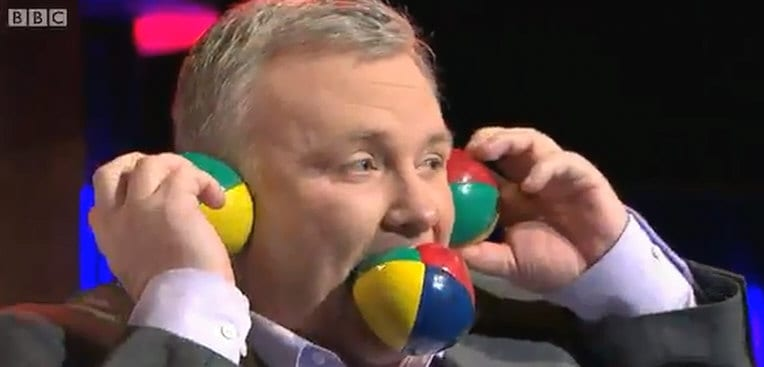 BBC radio presenter Stephen Nolan tries a bit of unusual juggling