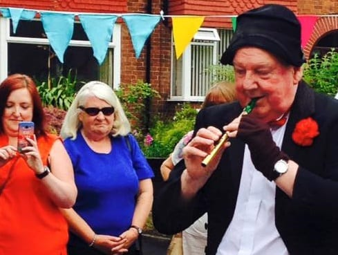 Jimmy Cricket performs at the special garden party in Doncaster