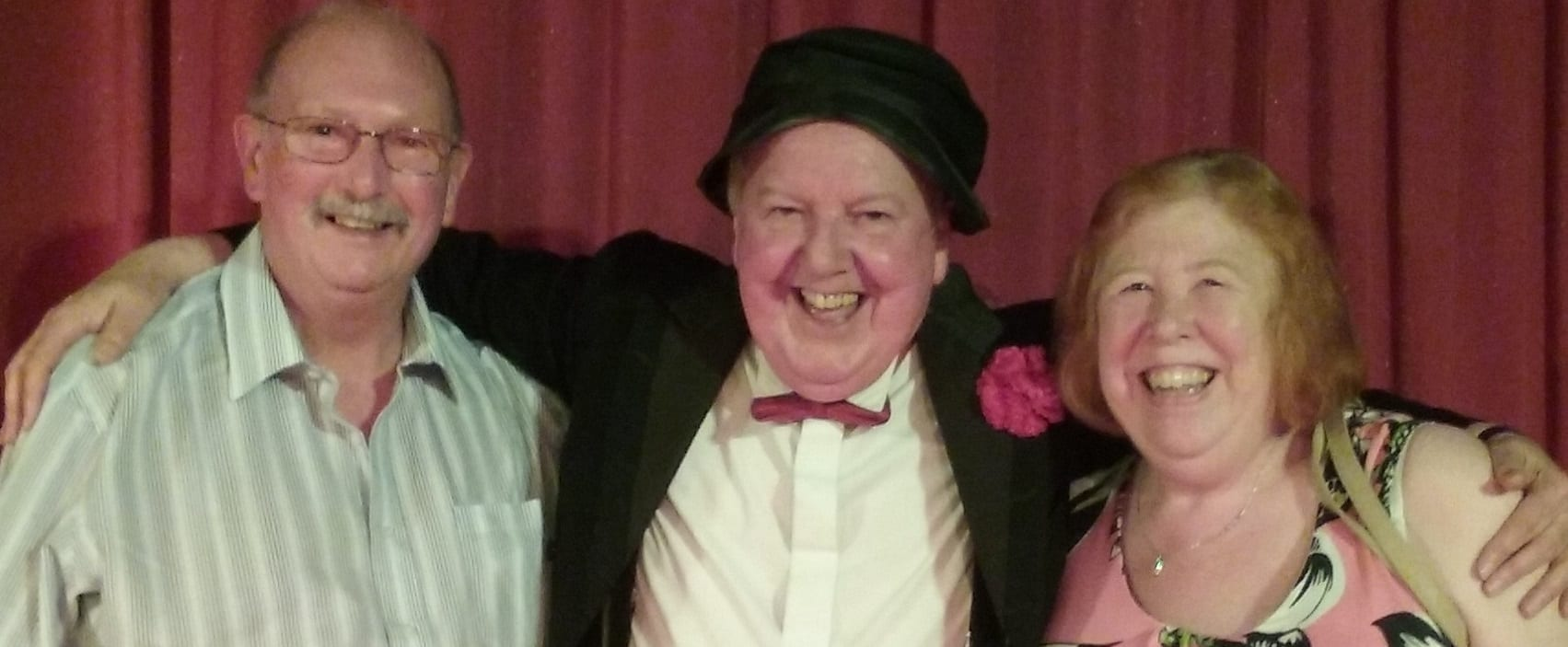 Jimmy Cricket with Ben and Linda, guests at the resort