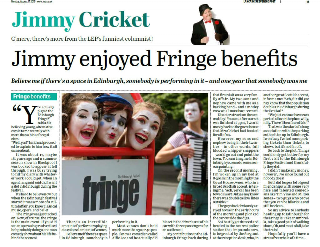 Jimmy Cricket's August column in the Lancashire Evening Post