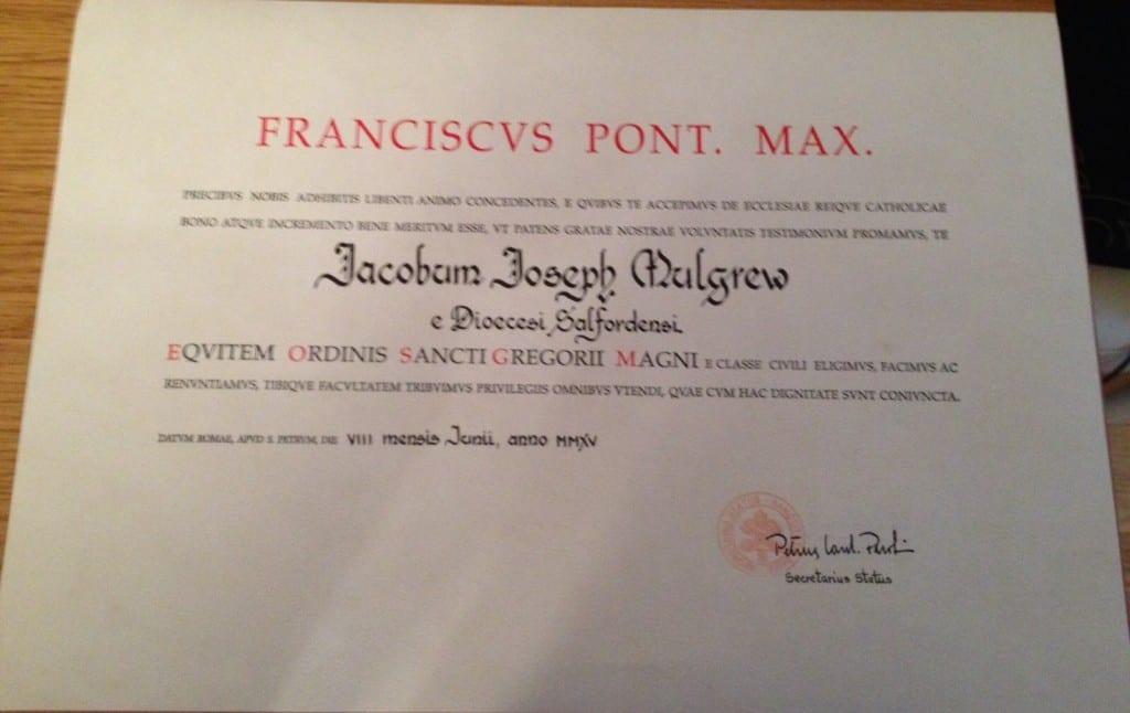 Papal Award