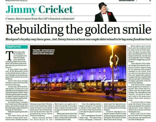 Jimmy Cricket's column in the Lancashire Evening Post
