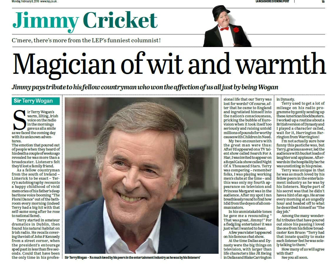 Jimmy Cricket on Sir Terry Wogan in the Lancashire Evening Post