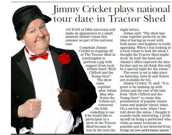 Jimmy Cricket's forthcoming show was previewed in the Essex Chronicle