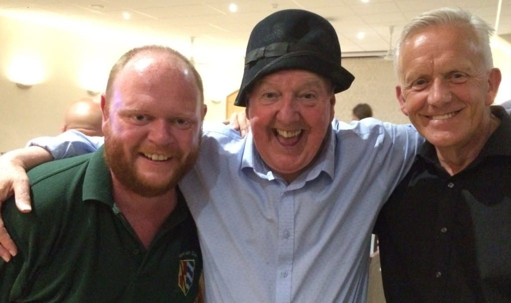 Jimmy Cricket with fellow entertainer David Chesworth and Mike from Nantwich Club