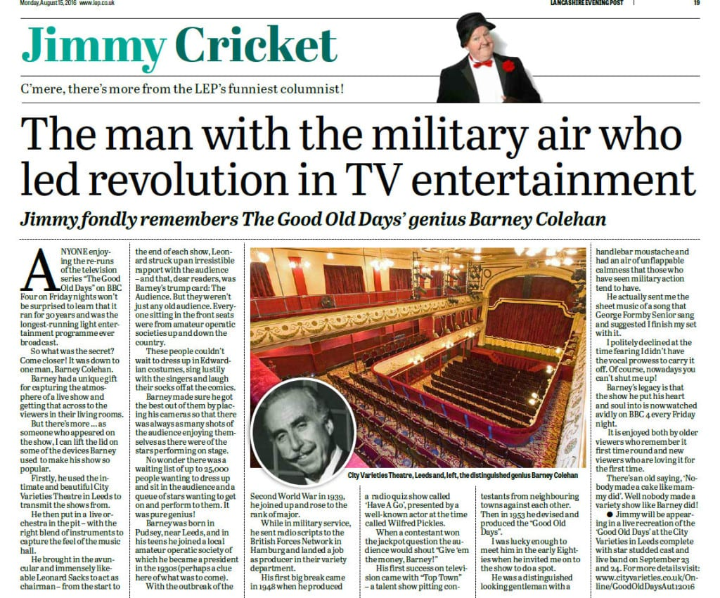 Jimmy Cricket's column in the Preston-based Lancashire Evening Post about The Good Old Days on the BBC