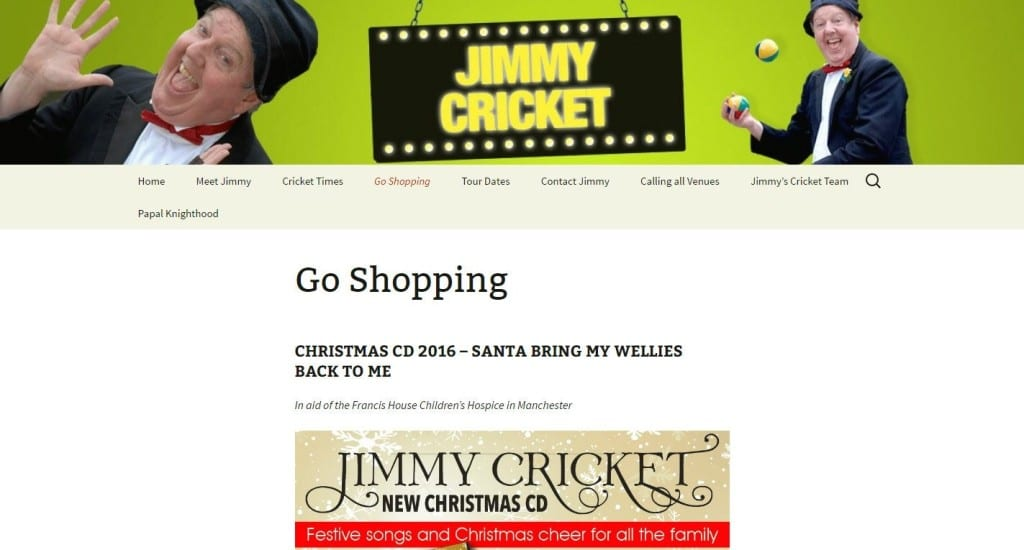 Jimmy Cricket's Christmas CD can be bought via his website