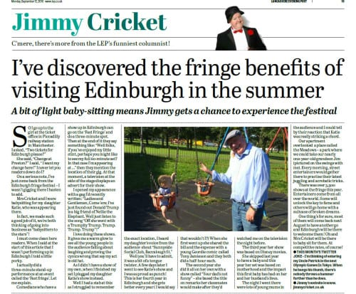 Jimmy Cricket's September column in the Lancashire Evening Post