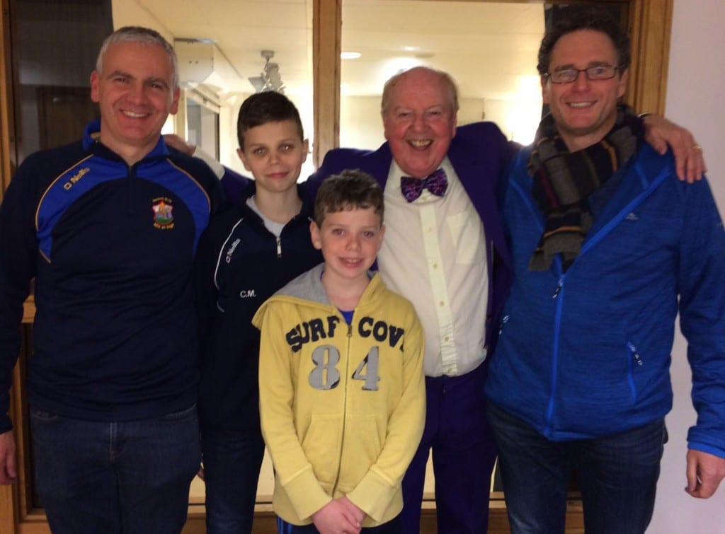 Jimmy Cricket with his nephews Peter and Brendan, and the latter's two sons