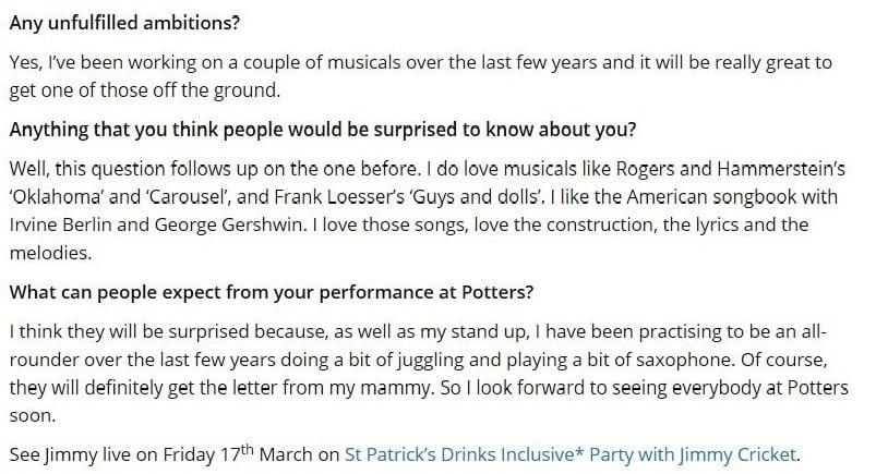 Potters Resort blog on Jimmy Cricket's career