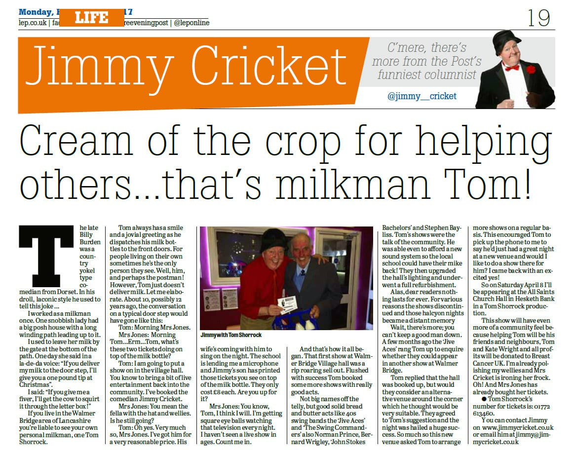 Jimmy Cricket's Lancashire Evening Post column