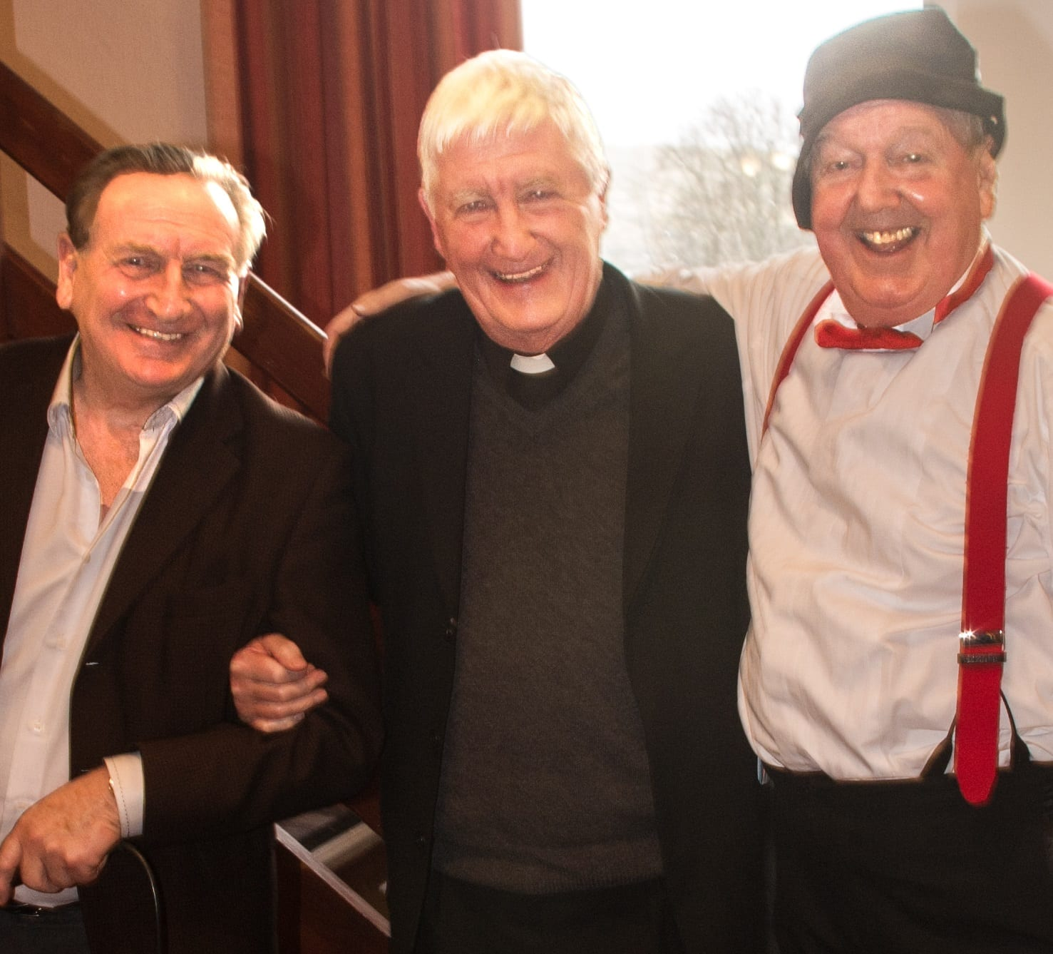 Jimmy Cricket with fellow comedian Dusty Young and Fr David Lupton