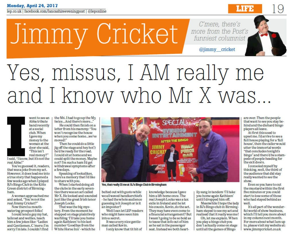 Jimmy Cricket's latest column in the Lancashire Evening Post