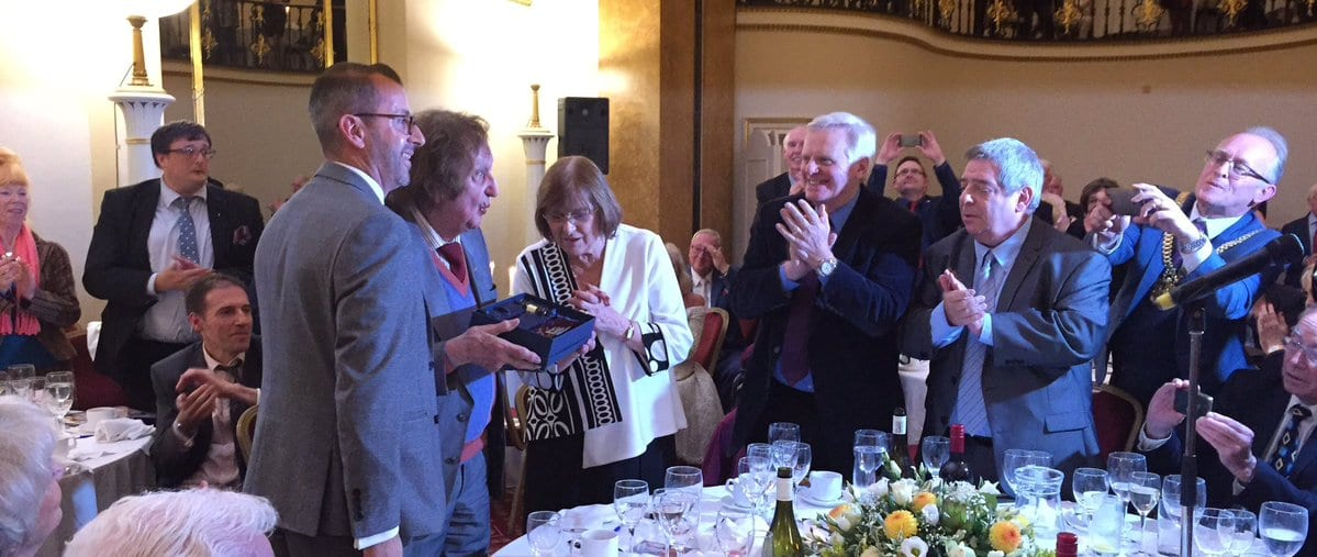 Sir Ken Dodd receiving his award