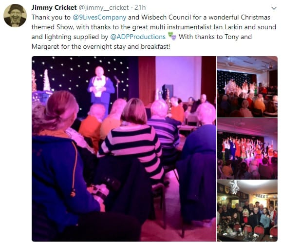 "Jimmy tweeted his thanks to the Nine Lives Theatre Company and Wisbech Council for a ""wonderful Christmas-themed show""."
