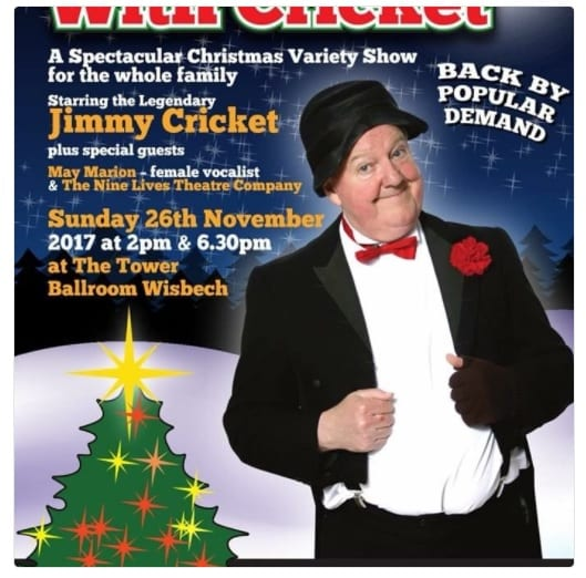 "Jimmy Cricket returned to Wisbech in East Anglia to headline a ""spectacular Christmas variety show for the whole family""."