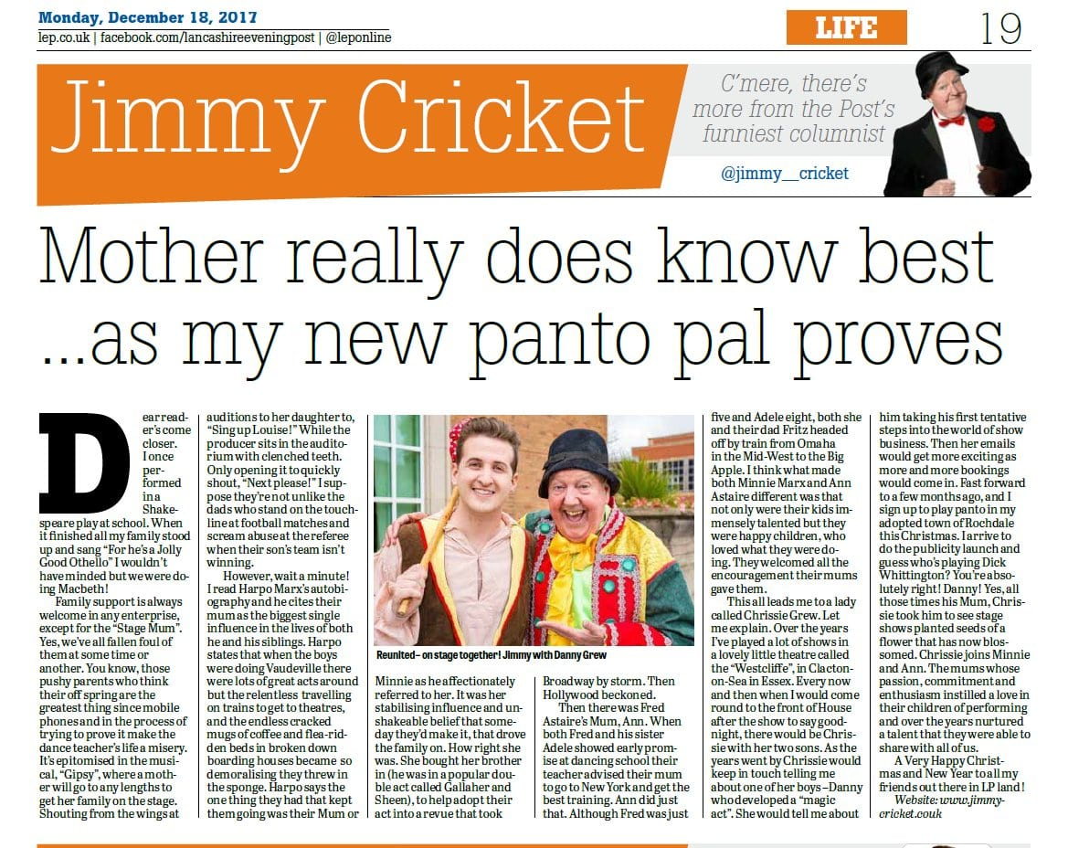 Jimmy Cricket's December column in the Preston-based Lancashire Post