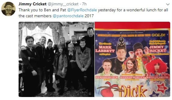 All the panto cast members, including Jimmy Cricket, had lunch at The Flying Horse in Rochdale