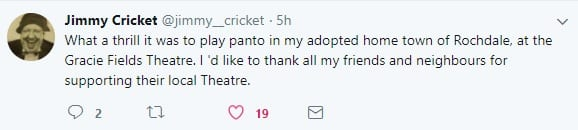 Jimmy Cricket tweeted his thanks to everyone involved in the panto