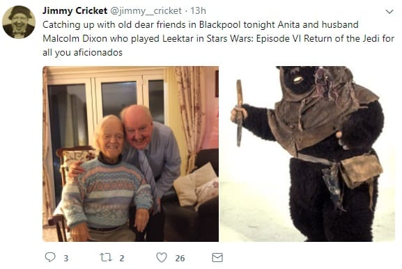Jimmy Cricket met up again with friends Malcolm and Anita Dixon