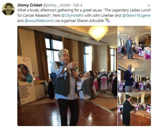 Jimmy Cricket performed with fellow Ulstercomics,John Linehan (aka May McFettridge), Gene FitzpatrickandWilliam Caulfieldat the City Hotel Derry