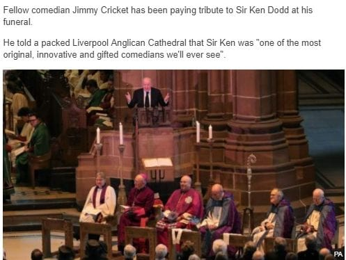 Fellow comedian Jimmy Cricket has been paying tribute to Sir Ken Dodd at his funeral.