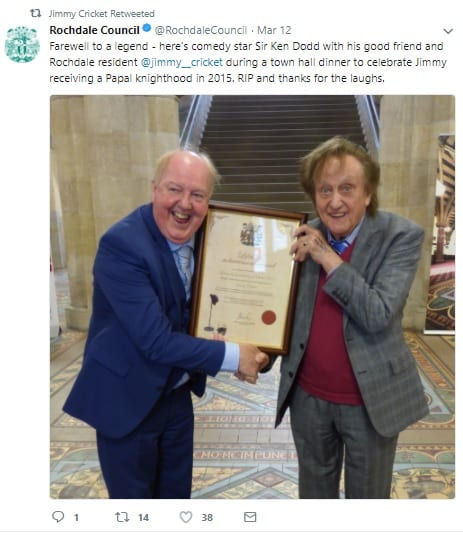 Rochdale Council's photo of Sir Ken Dodd and Jimmy Cricket