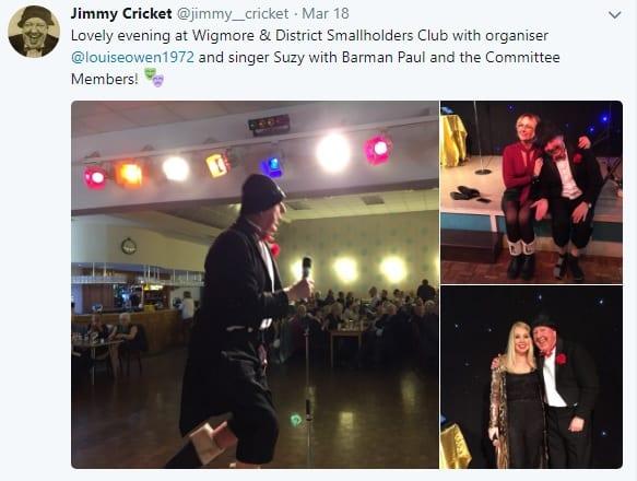 Jimmy Cricket's tweet on Wigmore & District Smallholders Club