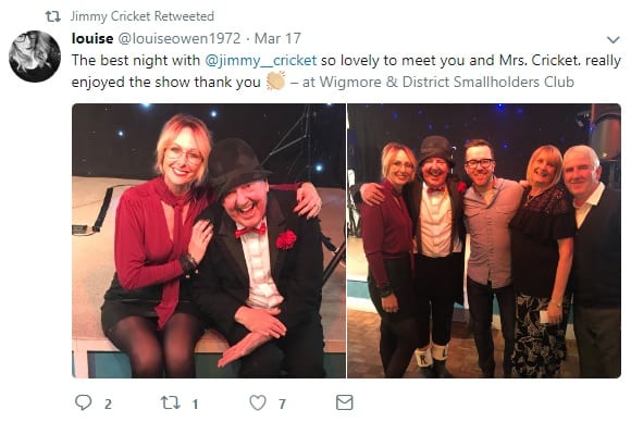 Jimmy Cricket's tweet about Wigmore & District Smallholders Club
