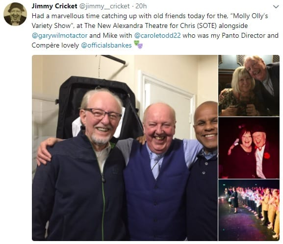 Jimmy Cricket performed at theNew Alexandra Theatre in Birmingham, a charity evening in aid of Molly Olly's Wishes