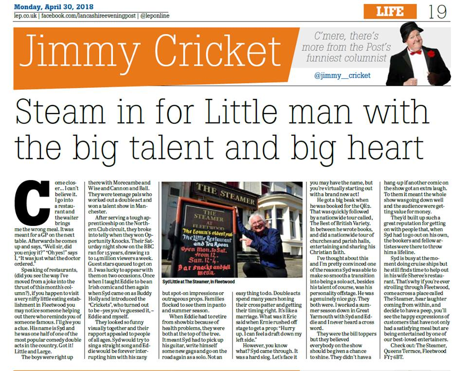 Jimmy Cricket's April column in the Lancashire Post