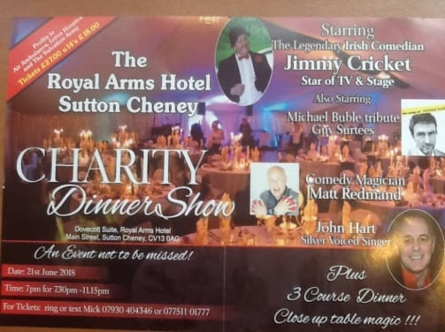 Jimmy Cricket is performing at the Royal Arms Hotel in Sutton Cheney, near Market Bosworth in Leicestershire