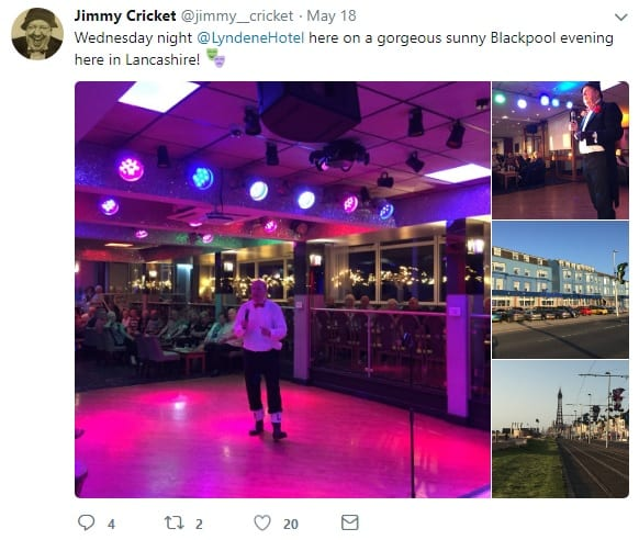 Jimmy Cricket at the Lyndene Hotel in Blackpool, Lancashire