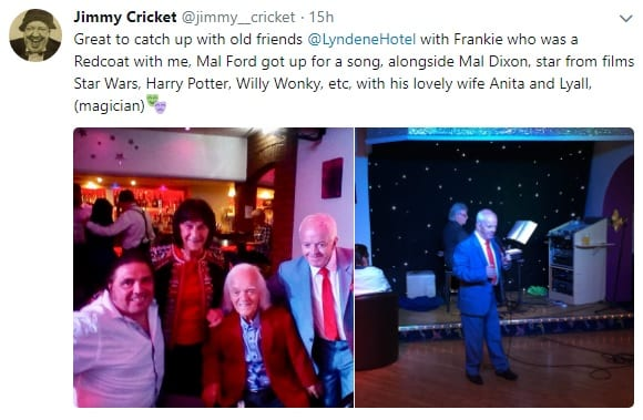 Great to catch up with old friends @LyndeneHotel with Frankie who was a Redcoat with me, Mal Ford got up for a song, alongside Mal Dixon, star from films Star Wars, Harry Potter, Willy Wonky, etc, with his lovely wife Anita and Lyall, (magician)