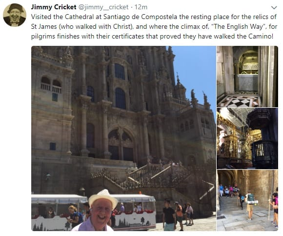 Jimmy Cricket posted some photographs on Twitter
