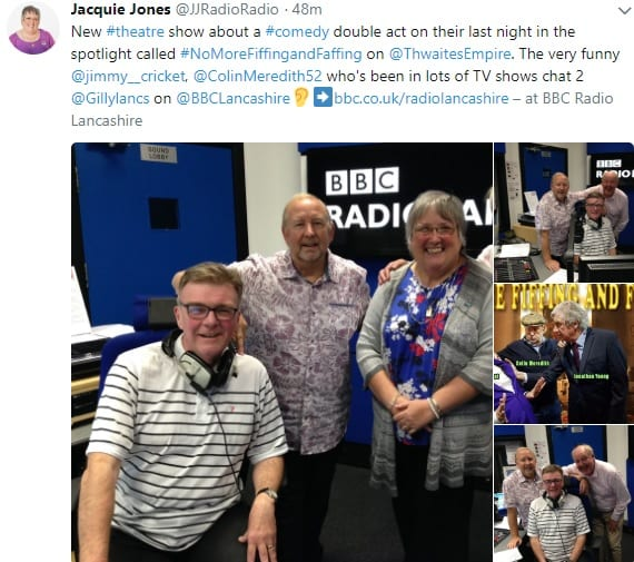 New #theatre show about a #comedy double act on their last night in the spotlight called #NoMoreFiffingandFaffing on @ThwaitesEmpire. The very funny @jimmy__cricket, @ColinMeredith52 who's been in lots of TV shows chat 2 @Gillylancs on @BBCLancashire👂➡️https://www.bbc.co.uk/radiolancashire – at BBC Radio Lancashire