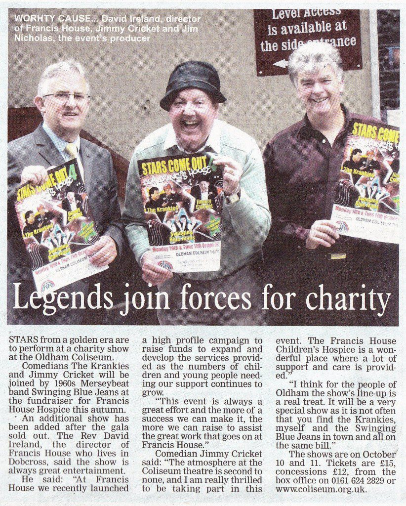 Story from The Oldham Advertiser about the charity show