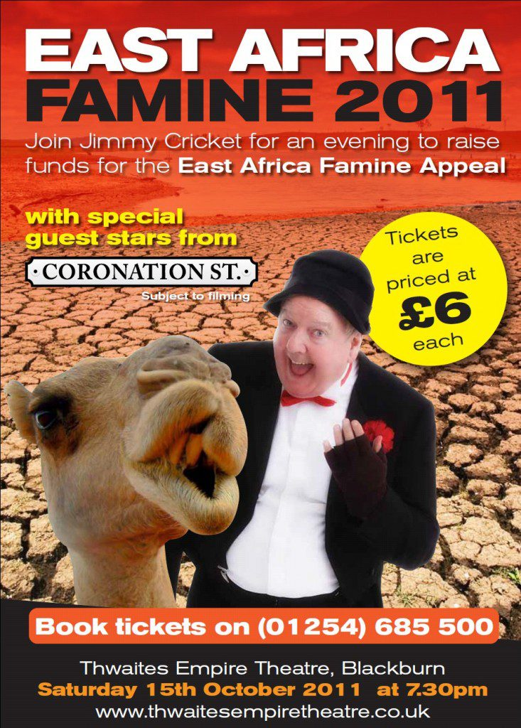 Poster for Jimmy Cricket's night of entertainment in aid of the East Africa Famine Appeal