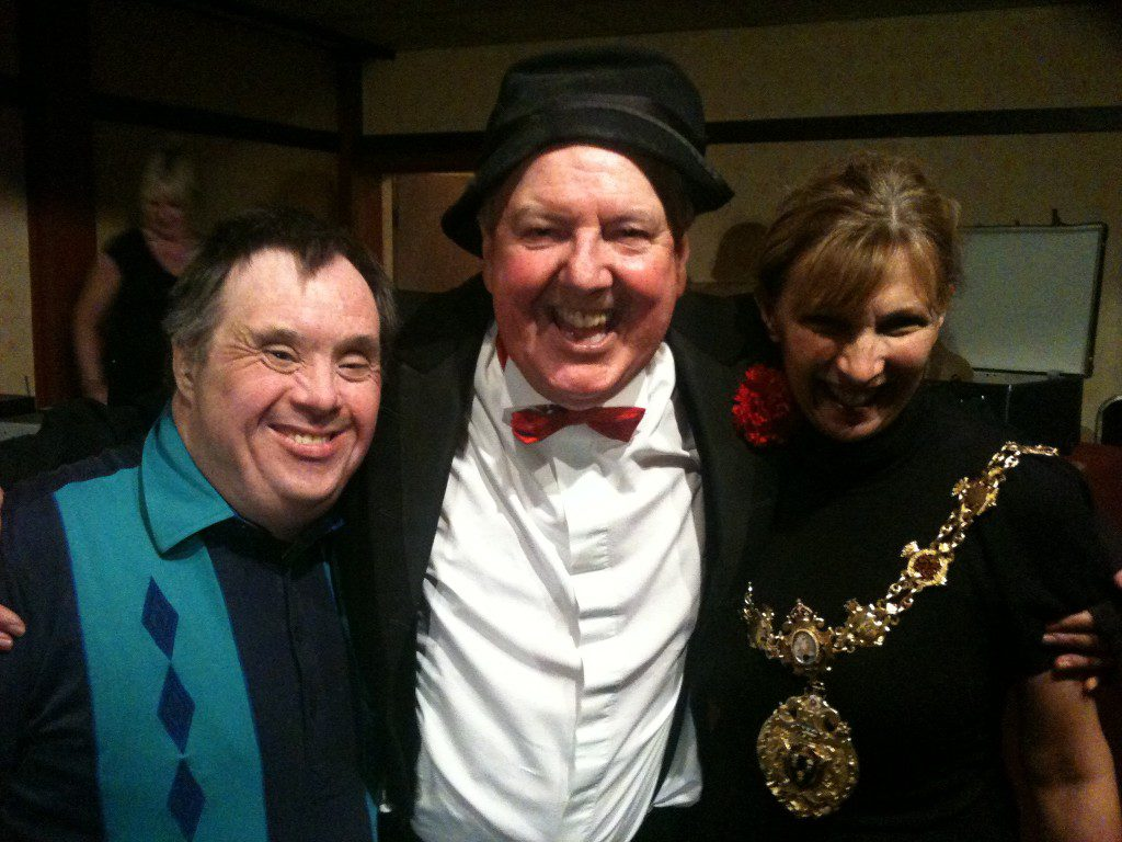 Jimmy Cricket at the charity show with Northwich Mayor Alison Gerrard and friend
