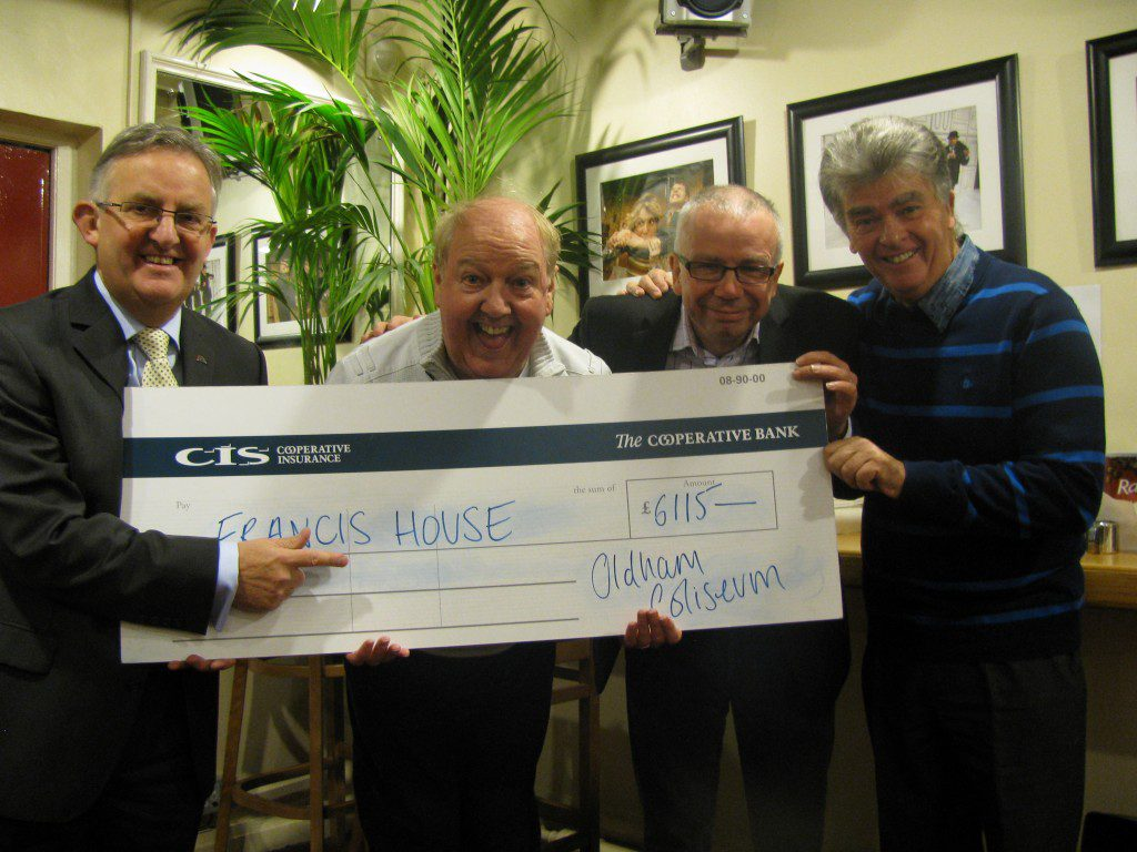 Pictured, from left: David Ireland from Francis House, comedian Jimmy Cricket, David Martin,executive director of the Coliseum theatre, and the show's producer, Jim Nicholas