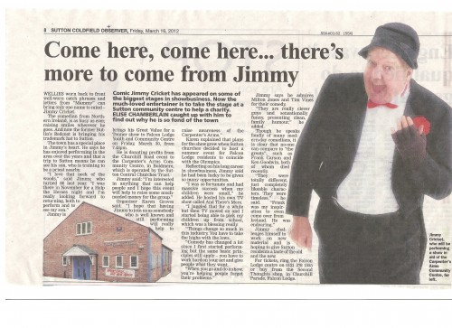 Sutton Coldfield Observer preview of Jimmy's latest performance in the town
