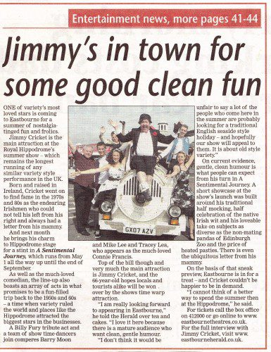 Article about Jimmy Cricket from the Eastbourne Herald