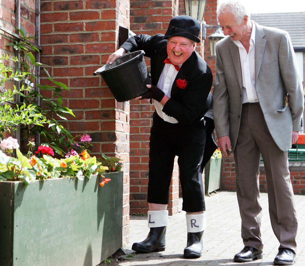 Jimmy Cricket and Robin Blair with some of the plants Robin donated to Darlington Civic Theatre